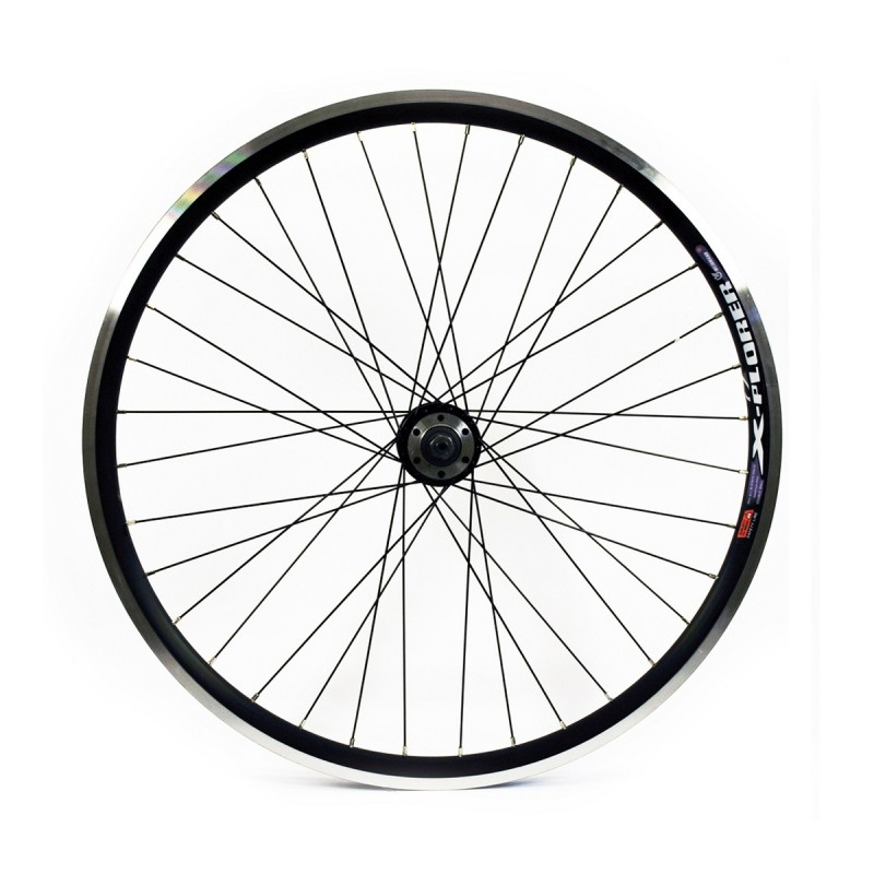 WILKINSON 26X1.75 REAR WHEEL - BLACK DOUBLE WALL MTB RIM -DISC/V-BRAKE Q/R BLACK SCREW ON DISC HUB BLACK SPOKES, 36 HOLE