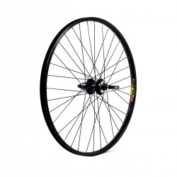 27.5 650B REAR WHEEL - BLACK DOUBLE WALL MACH 1 DISC MTB RIM - DISC/V-BRAKE Q/R BLACK QUANDO HUB SCREW ON