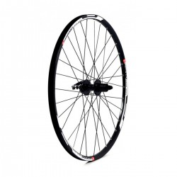 27.5 650B REAR WHEEL - BLACK DOUBLE WALL MACH 1 DISC MTB RIM - DISC Q/R SHIMANO DEORE HUB 8/9/10 SPEED