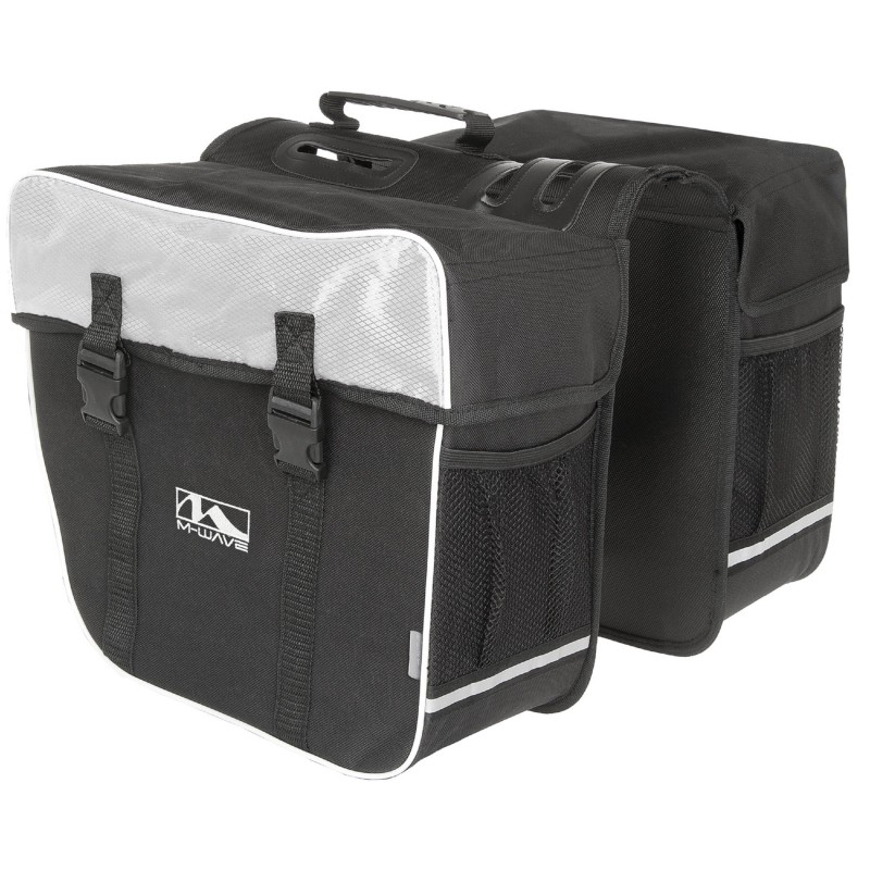 M-WAVE Amsterdam Double bicycle carrier bag back white