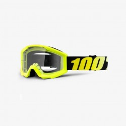 100% Strata Junior Goggles Neon Yellow   Clear Lens