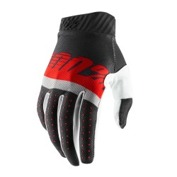 100% Ridefit Glove Steel Grey   Red