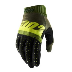 100% Ridefit Glove Army Green   Fluo Lime   Fatigue