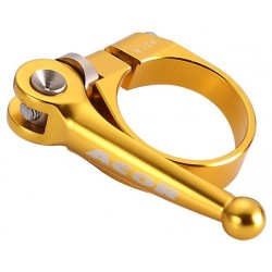 Acor CNC Alloy Q/R Seat Post Clamp: Gold 34.9mm