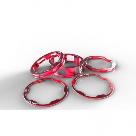 BOX Zero stem spacers Kit 1 1/8' 10, 5, 3,1(2pcs)mm Red
