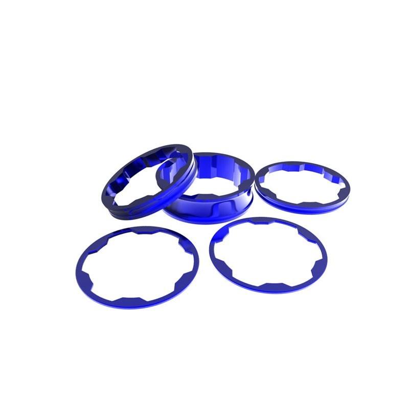 Promax Stem spacers Kit 1 1/8' 10,5,3,1 (2pcs)mm Blue
