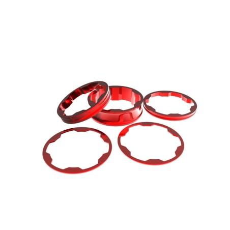 Promax Stem spacers Kit 1 1/8' 10,5,3,1 (2pcs)mm Red