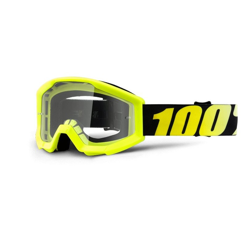 100% Strata Youth Goggles Neon Yellow - Clear Lens