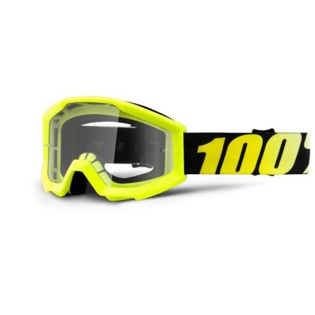 100% Strata Junior Goggles Neon Yellow   Clear Lens