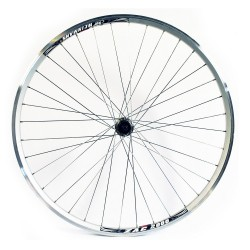 700c Rear Wheel - Hybrid Silver Double Wall - V-brake Q/R 8/9/10 Spd 135mm Silver spokes 36